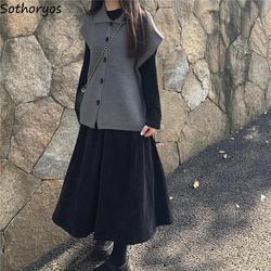 Women Sets Sleeveless Cardigans T-shirts Black Skirts 3 Pcs Leisure Elegant Sweet Girls Streetwear Simple Autumn Ulzzang Fashion