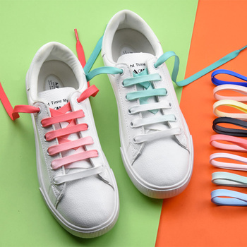 1pair Colorful Flat Shoelaces Candy Gradient Party Shoelace Kids Adult  Canvas Strings Camping Silkes Laces Rainbow