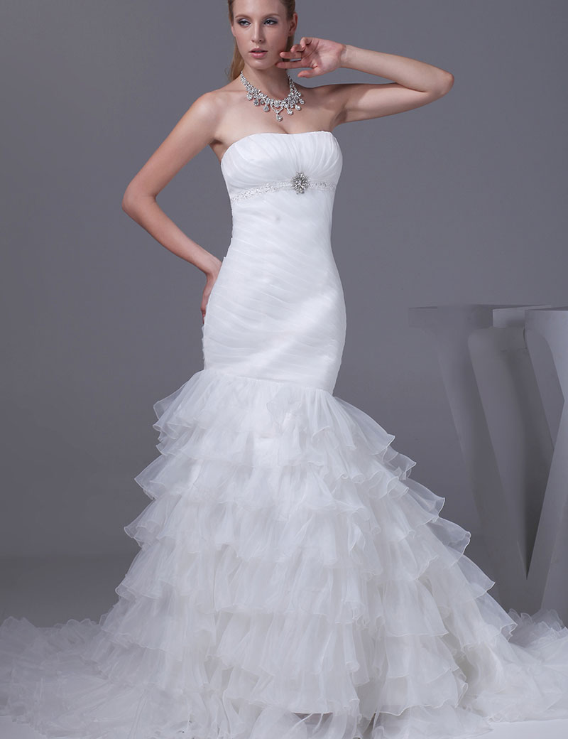 Romantic White Organza Off The Shoulder 2016 Wedding Dress Sexy Mermaid Court Train Strapless Fashion Vestido De Noiva