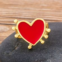 Fashion Simple Heart Shaped Rings For Women Gold & Red Color Adjustable Ring Best Party Wedding Anniversary Jewelry Gift