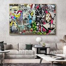 Moderno graffiti arte pessoas famosas e animais cartazes e quadros em tela quadros de parede para sala estar decoração
