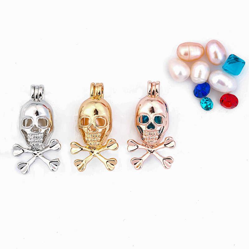 1 pc/3 pc Skull สร้อยคอจี้ Pearl/Luminous กรงหินจี้เครื่องประดับผู้ชายผู้หญิง delicacy จี้ของขวัญ