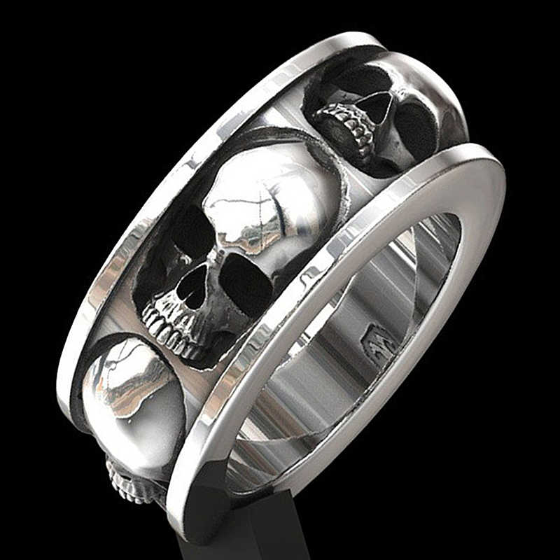 Retro Surround Skull Men's Ring Motorcycle Band Engagement Wedding Jewellery Gothic Punk Classic Hip Hop Biker Rings O3T359