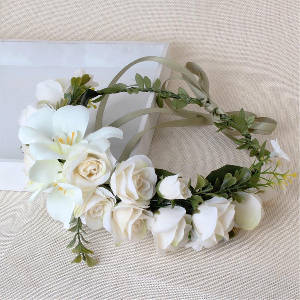 Handmade Wreath Garland Bridal Hair Accessories Travel Photo Garland Headdress Wedding Festival Artificial Flower Decoration