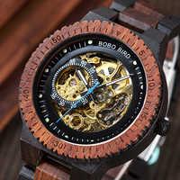 BOBO BIRD Automatic Mechanical Wooden Watches Men Wristwatch Waterproof Male forsining in Wood Box masculino Watch reloj hombre