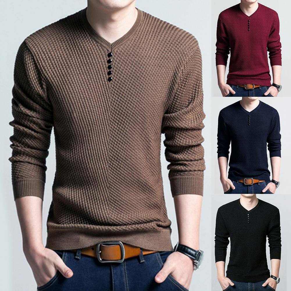 Men Long Sleeve Solid Color Buttons Decor Knitwear Plus Size Bottoming Sweater Perfect Christmas Gift For Yourself Family Friend