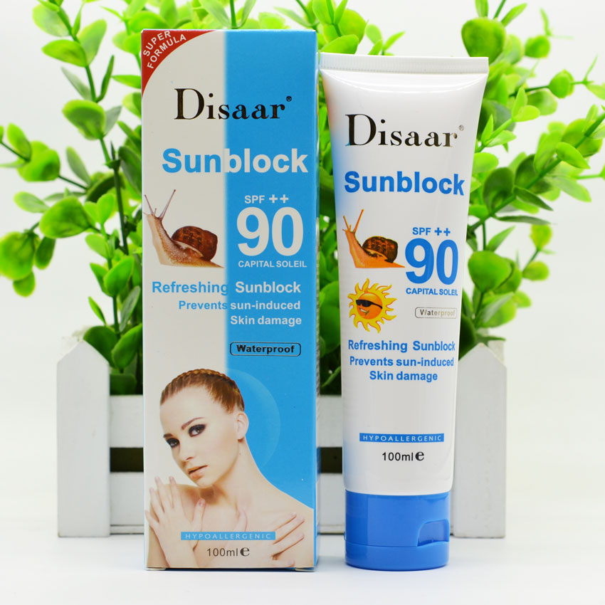Snail Sunscreen Cream 100ml,Protection Face Cream Disaar Sunblock 90++ Protective Cream Pigmentation SPF