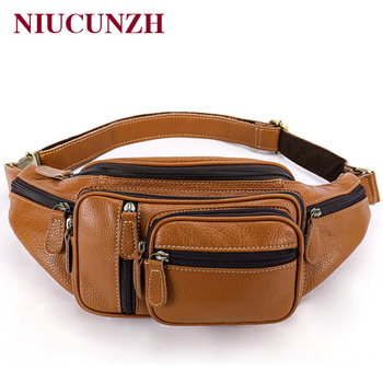 NIUCUNZH Multifunction Money Belt Bag Men's Waists Bags Genuine Leather Fanny Pack Phone Waist Pack/Bags Messenger Bag Men