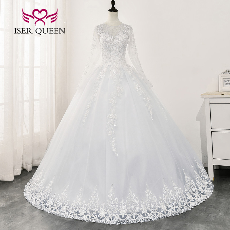 Long Sleeves Crystal Beading Wedding Gowns 2020 New Fashion Illusion White Wedding Dress Vintage Bride Dress WX0163