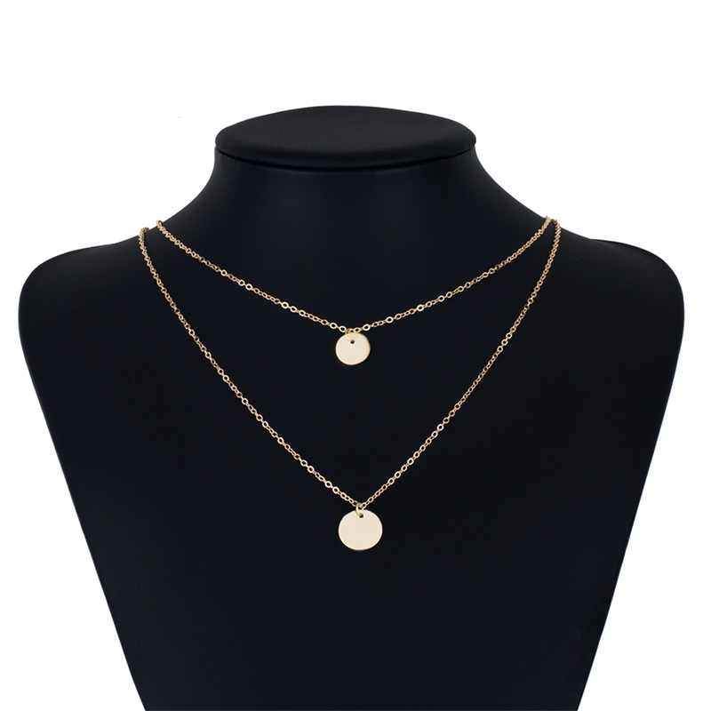 EN ボヘミアンラウンドコイン合金ペンダントネックレス女性のファッションヴィンテージ多層ゴールドシルバーカラーの襟の宝石類のギフト