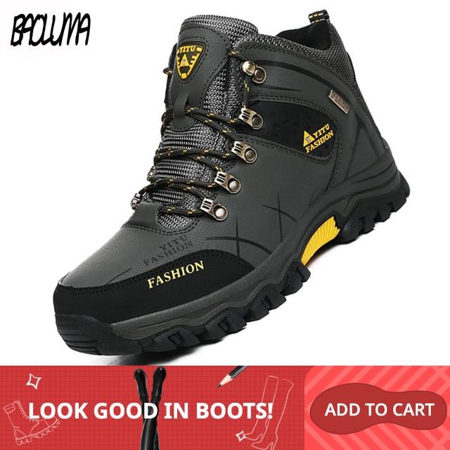العلامة التجارية الرجال أحذية الشتاء الرجال الثلوج الأحذية الشتاء الدافئة الجلود الرجال أحذية رياضية في الهواء الطلق تنفس أحذية التنزه أحذية عمل