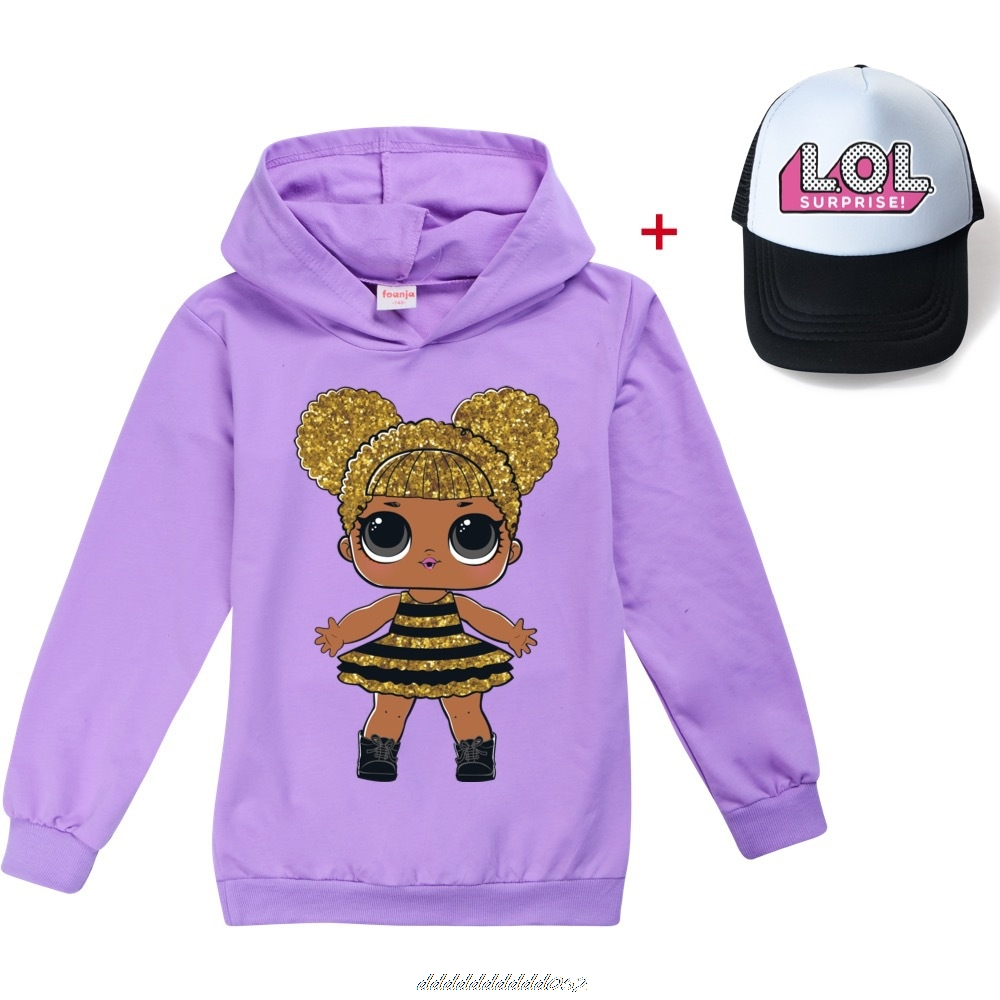 Gris L.O.L. SURPRISE! Hoodies Girl Fashion Hoodie Children Casual Pullovers Printed Sweaters Long Sleeves Kids Autumn Clothes 4