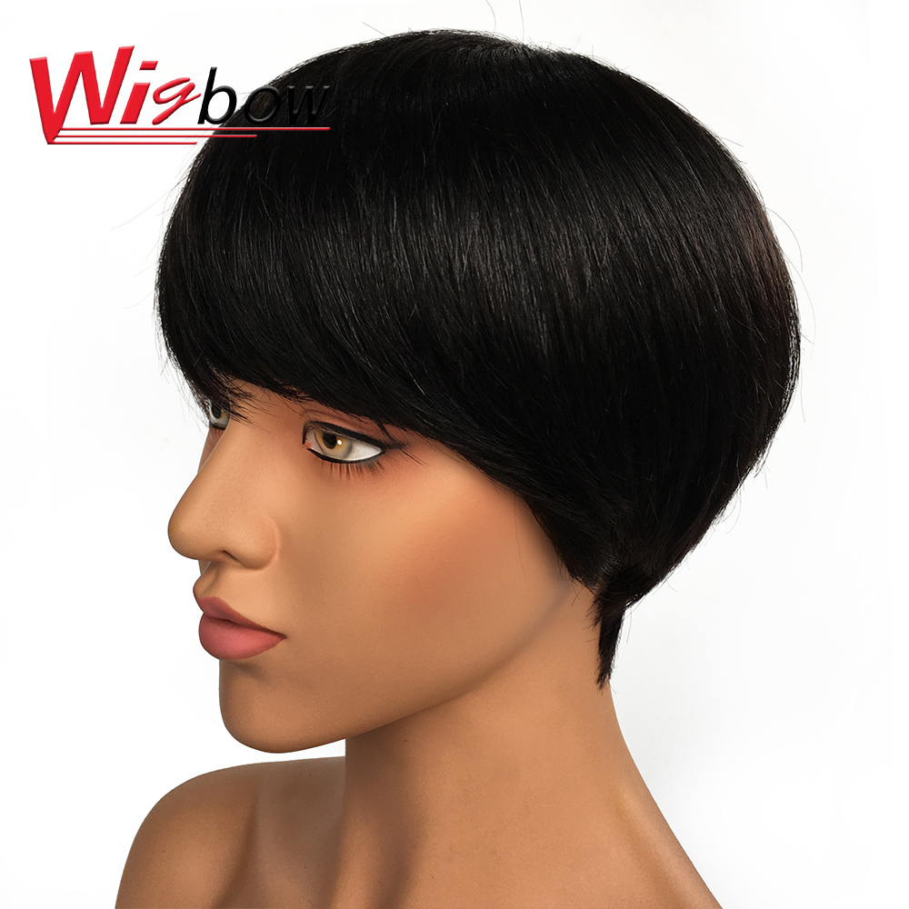 Short Wig Human Hair For Women Straight Peruvian Hair Pre-Plucked Lace Wig Natural Color 100% Human Hair Wigbow