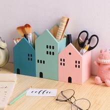1 adet yaratıcı ev şekli ahşap kalem kalemlik masa üstü organiser konteyner tencere fırçası kırtasiye okul ofis malzemeleri