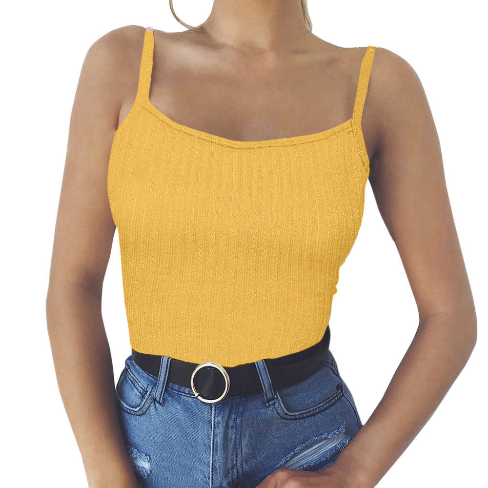 Yellow Tank Top Women Summer Short O-Neck Solid Casual Sexy Shoulder Strap Tanks Tops Sexy Cami Vest regata feminina #FX