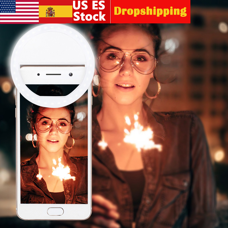 Universal Selfie LED Ring Flash Light Portable Mobile Phone 36 LEDS Selfie Lamp Luminous Ring Clip Lens Beauty Fill Light Lamps