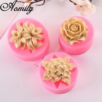 Aomily lirio Lila rosa en forma de 3D silicona Chocolate jalea caramelo molde de pastel utensilios para pasteles pastelería barra bloque de hielo molde de jabón herramientas para hornear