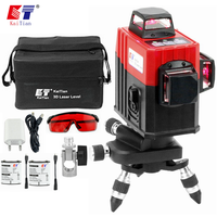 KaiTian 12Lines 3D Laser Level Self Leveling 360 Degre Horizontal Vertical Cross Powerful Level Laser Tool With Outdoor Detector