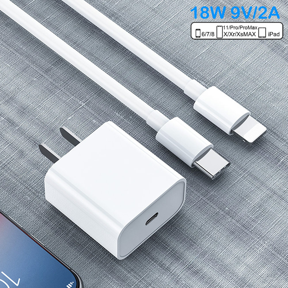 PD Fast Charging 18W 9V/2A USB-C Type-C To Lightning 1/2M Cable Charger Adapter For IPhone 11 11Pro Max XS IPad Mini Pro Air