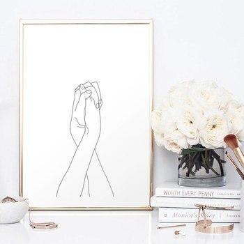 Nórdico cartel blanco y negro manos impresiones de la lona nunca Me deja ir de pared para sala de casa minimalista decoración regalo