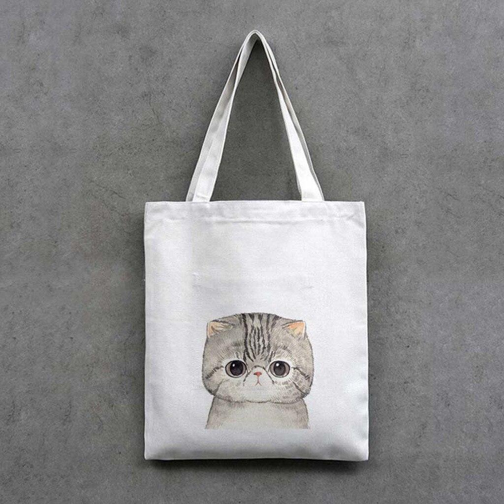2019 Fashion Women's Tote Bag Korea Original Cute Cat Canvas Shopping Bag Animal Prints Girl Student Shoulder Bags #F