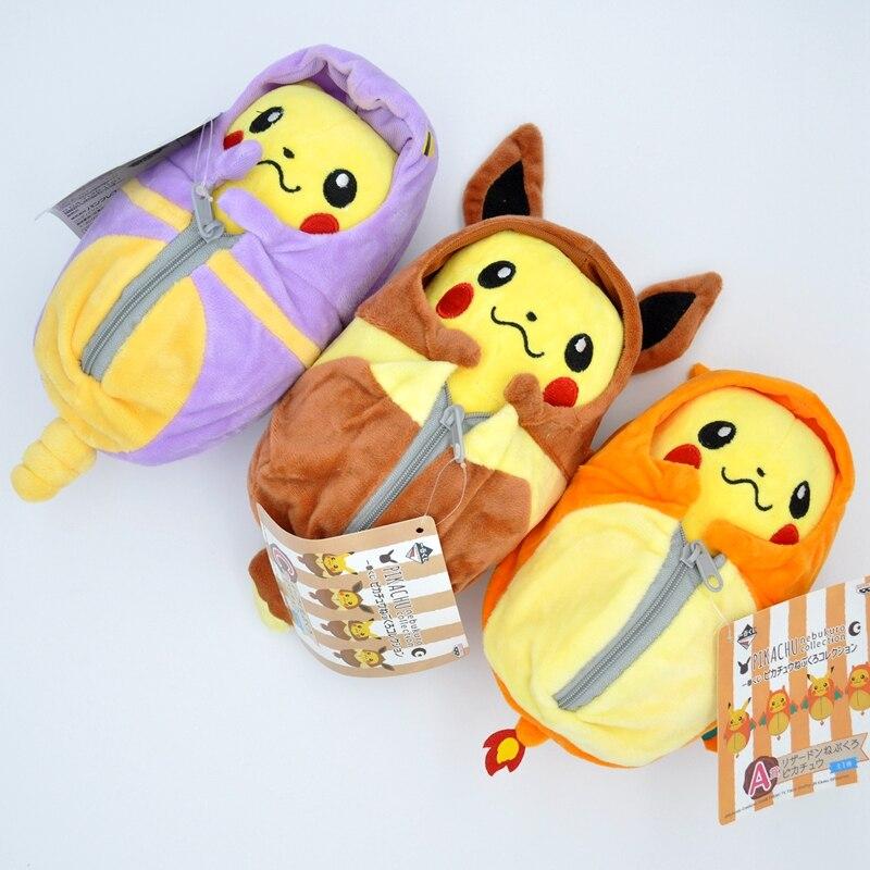 20 centímetros de Desenhos Animados Brinquedos de Pelúcia Pikachu Eevee Boneca de Cosplay Charizard Macio Stuffed Boneca Brinquedos de Pelúcia Saco de Dormir Crianças Presente de Aniversário
