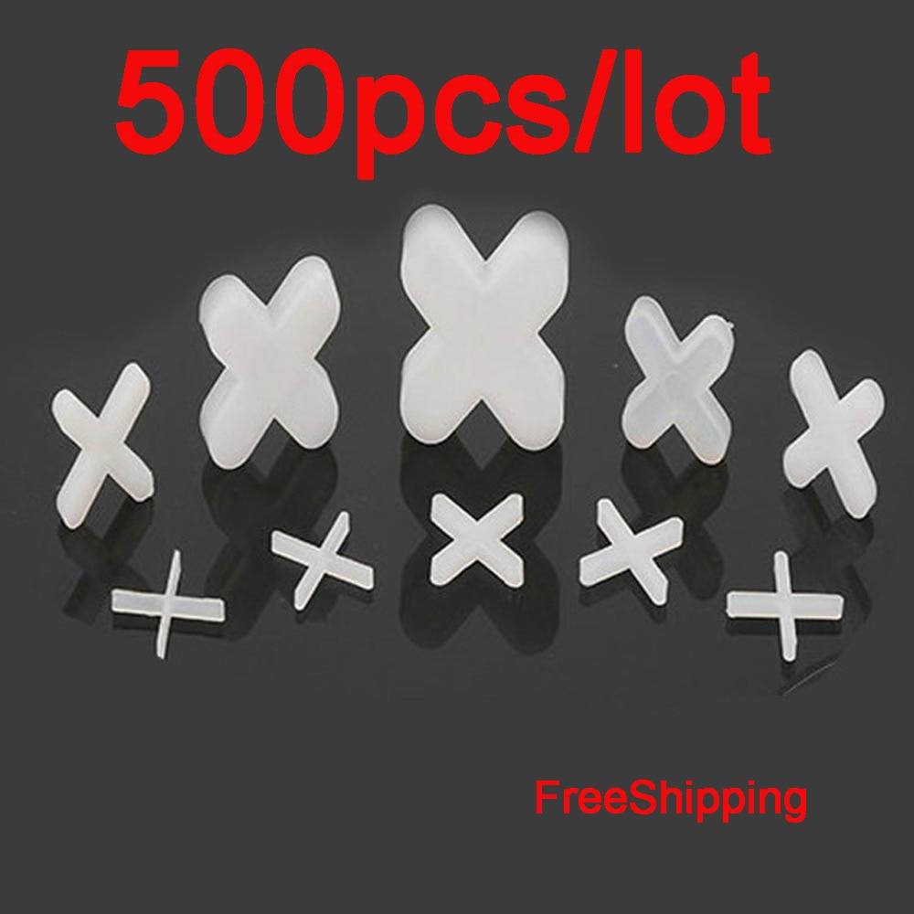 500pcs FreeShipping Plastic Tile Spacer White Cross Clips Cross Tiling Tool Ceramic Tilers Plumbers For Reuseable Tile Leveling