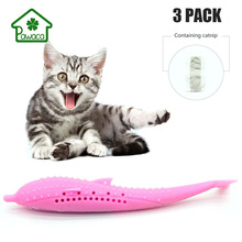 Pet Cat Toothbrush Toys Fish-Shaped Silicone Mint Molar Stick Teeth Cleaning Toy For Cats Interactive Supplies