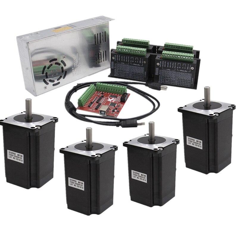 4 ציר ערכת cnc Nema 23 82mm מנוע צעד נהג TB6600 + USB mach3 בקר כרטיס כבל + 350W 36V אספקת חשמל
