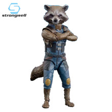Strongwell Rocket Raccoon muñeca figurita acción figuras de Marvel Galaxy Guard mapache Groot hogar Decoración infantil de juguetes lindo regalo(China)