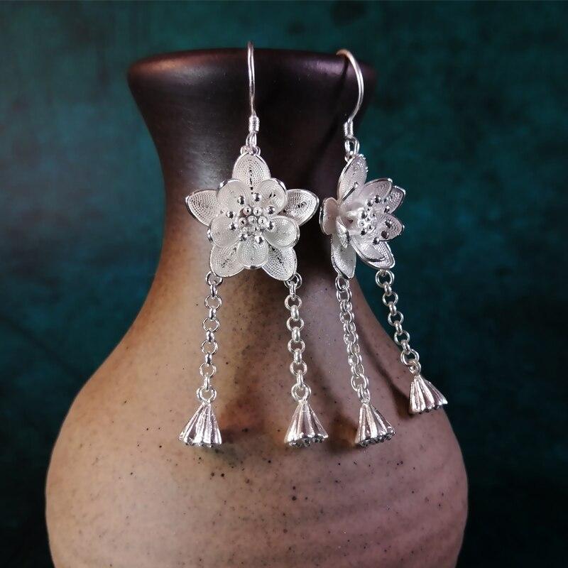 Fleur étoile boucles d'oreilles glands 999 en argent Sterling mode boucles d'oreilles pour les femmes 2019 déclaration de luxe Boho bijoux gland frange