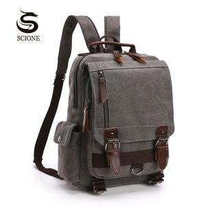 Image 1 - Scione Small Canvas Backpack Men Travel Back Pack Multifunctional Shoulder Bag Women Laptop Rucksack School Bags Female Daypack
