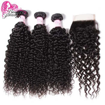 Beauty Forever Malaysian Curly Human Hair Bundles With Closure 4*4 Closure Free/Middle/Three Part 100% Remy Hair Extension - DISCOUNT ITEM  35 OFF Hair Extensions & Wigs