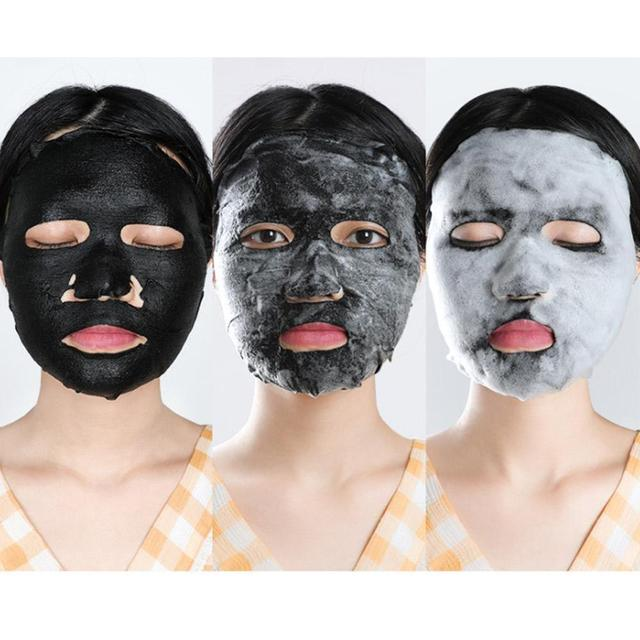 Korean Cosmetic Detox Oxygen Bubble Sheet Mask Moisturizing Bamboo Charcoal Black Face Mask Whitening Skin Care 3