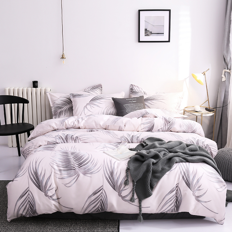 Brief Modern Solid Feather Duvet Cover Sets High Quality Home Bedding Set 2/3/4pcs Black Pink Marbling Quilt Covers 200x200cm