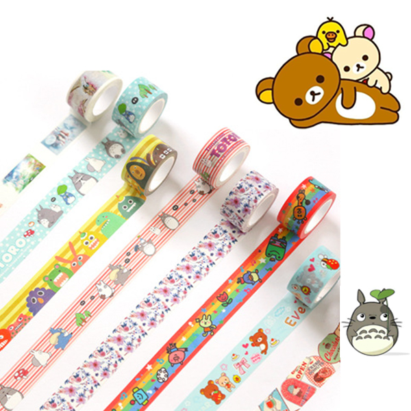 20mm Cute Washi Tape Japanese Totoro Rilakkuma Decorative Tape Flowers Sumikko Gurashi Scrapbooking Kawaii Grid Adhesive Tape 5
