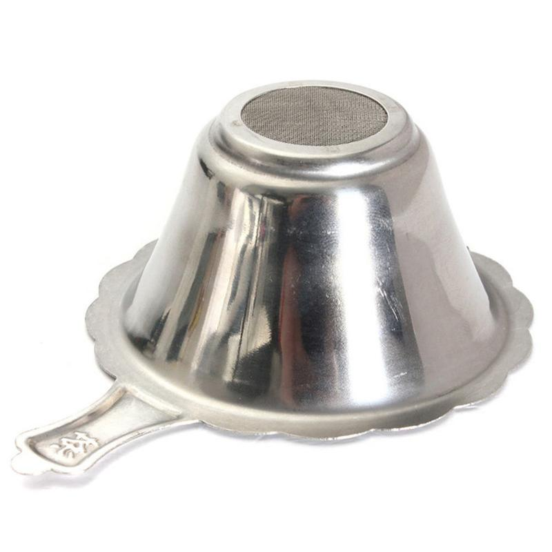 1Pc Stainless Steel Double-layer Fine Mesh Tea Strainer Filter Sieve Coffee Herb Spice Filter Reusable Tea Infuser Kitchen Tool