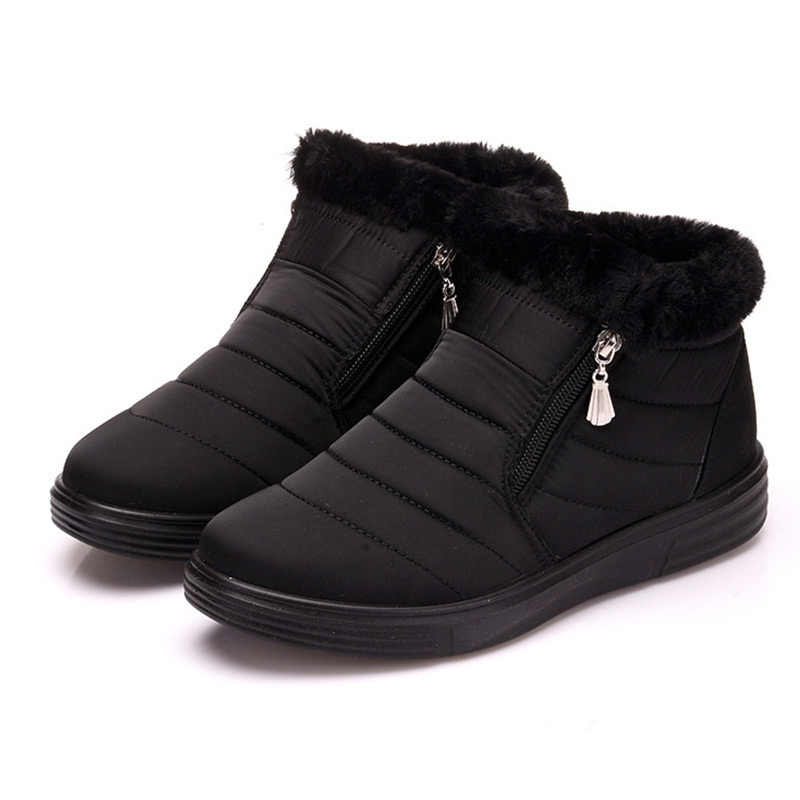Women's Snow Boots Warm Short Fur Winter Ankle Boots Female Comfortable Shoes Botas Mujer Plus Size Platform Ladies Zip Shoes