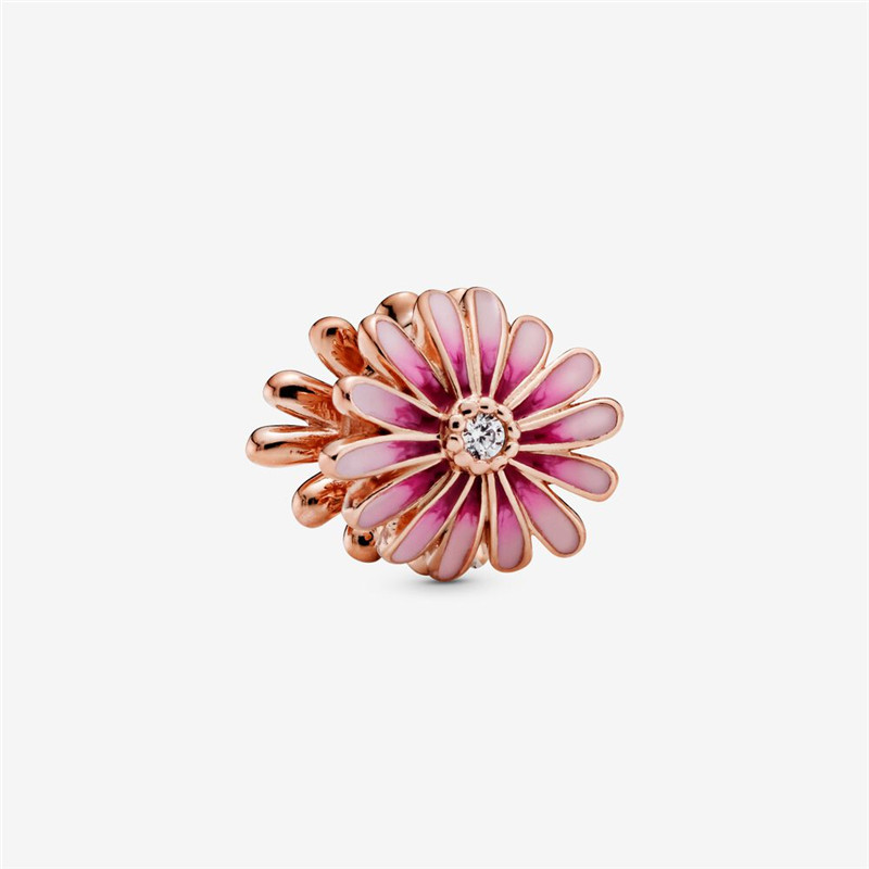 Pink Daisy Flower Charm Beads for Jewelry Making Fashion DIY Fits 925 Sterling Silver Charm Bracelet 2020 Rose Golden Jewellery