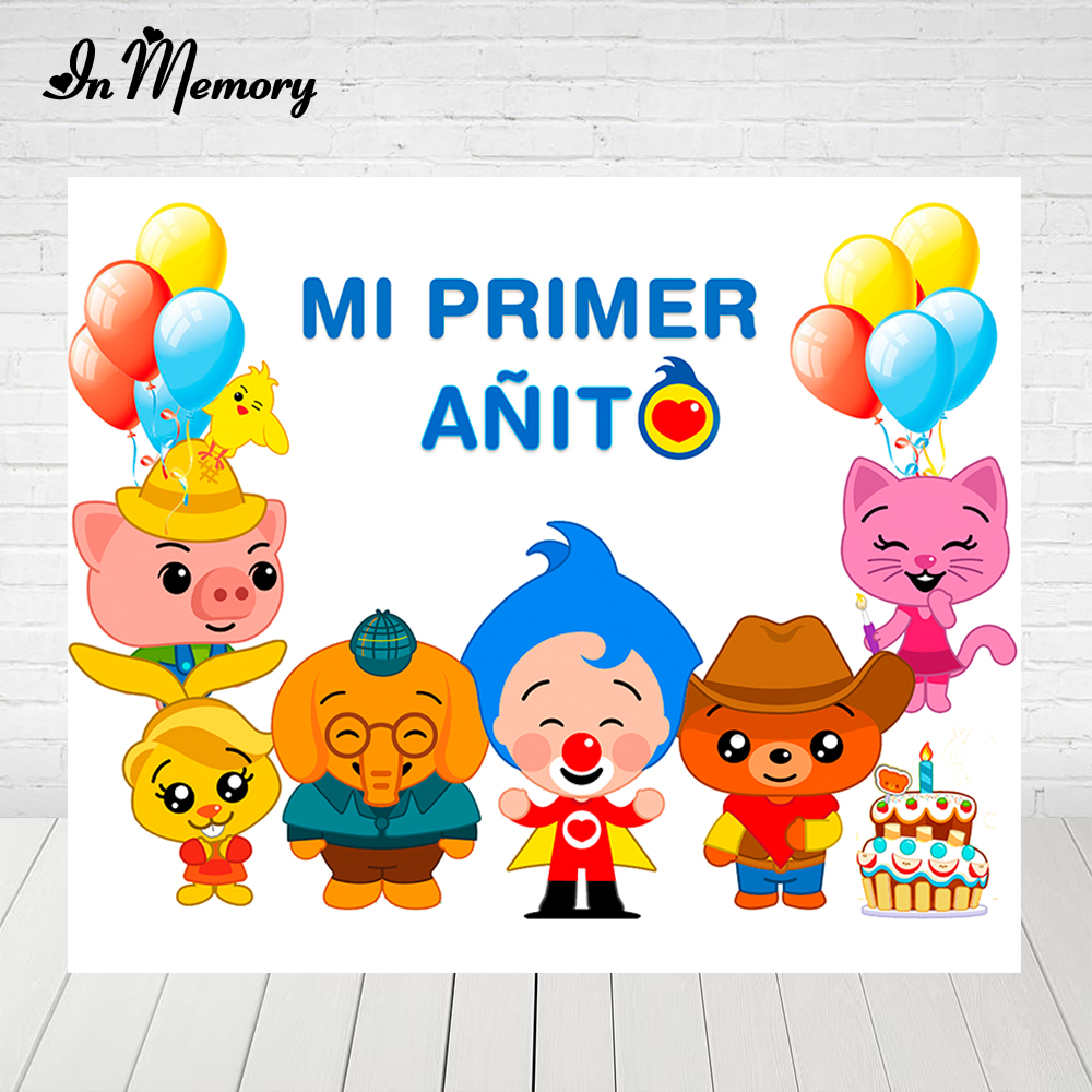 InMemory Cartoon Plim Plim Theme Backdrops For Photography Mi Primer Añito Boys Birthday Party Backgrounds Custom Photocall