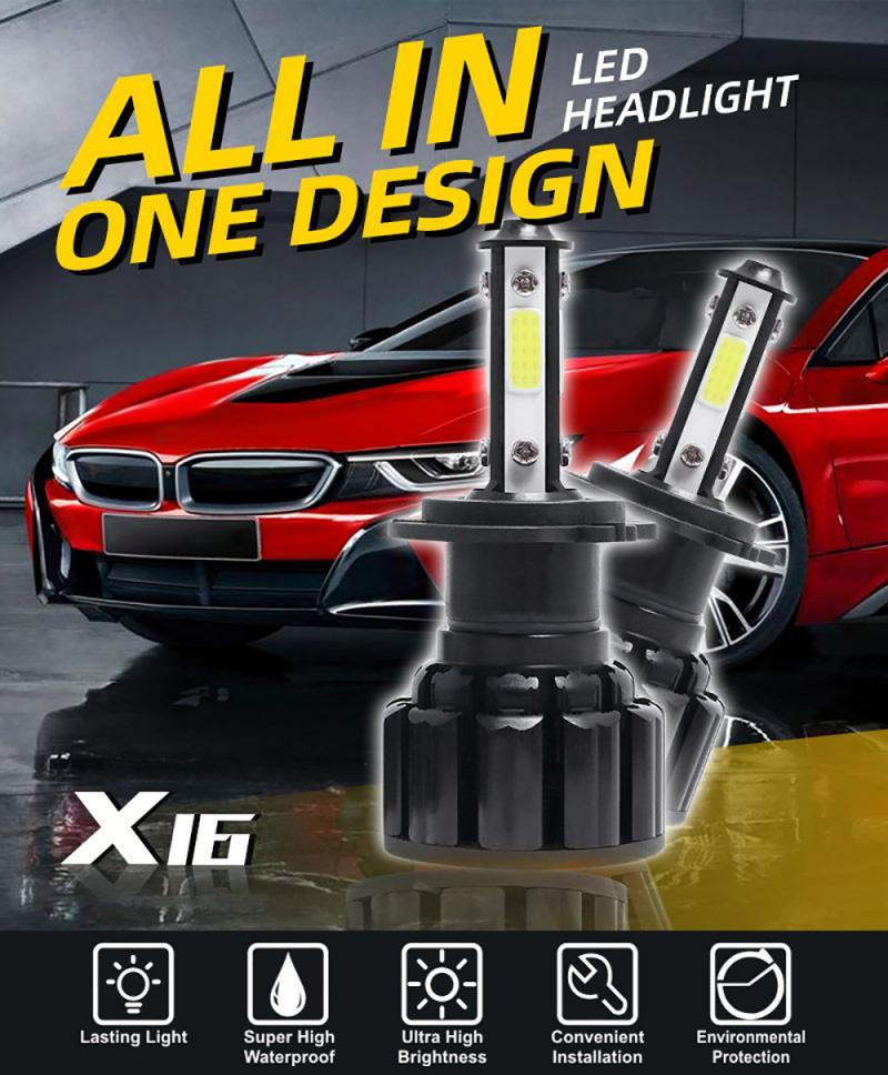 2PCS H4 H7 H11 H13 9004/5/6/7 Mini Car LED Headlight Bulbs Car Bulbs Kit Foglight Super Bright 60W 16000LM 6000K White Headlamps
