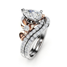 FDLK   Luxury Alloy Two-tone Rose Gold Color Ring Anniversary Gift Crystal Jewelry Vine Flower Bride Engagement Ring Set fdlk luxury alloy two tone rose gold color ring anniversary gift crystal jewelry vine flower bride engagement ring set