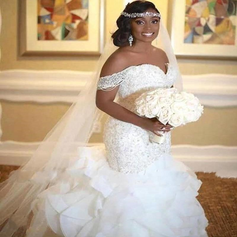 Luxury Elegant African Mermaid Wedding Dresses 2019 Ruffles Off The Shoulder Pearls Lace Up Back Bridal Gowns Wedding Gowns