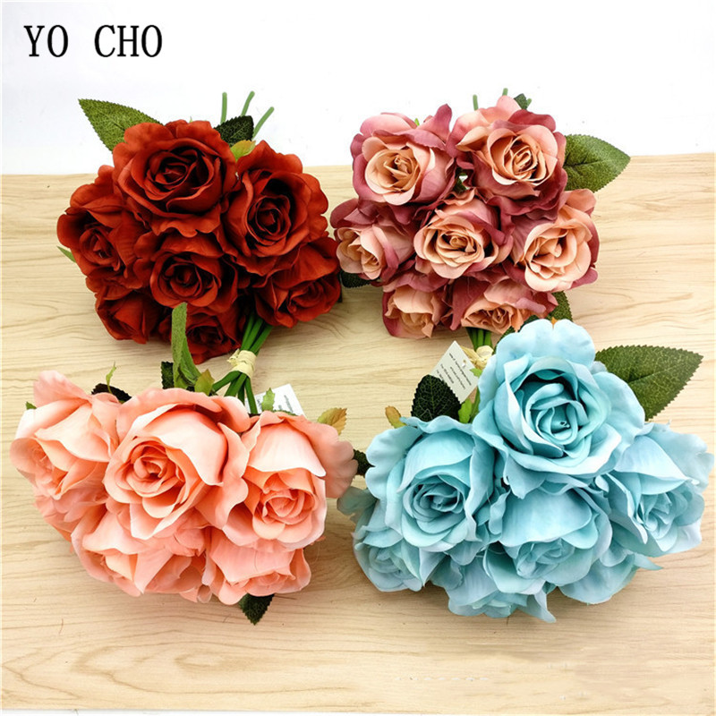 7 Heads Big Rose Artificial Silk Flowers Bouquet Red Faux Rose Bridal Bouquet Home Table Wedding Backdrop DIY Decor Fake Flowers