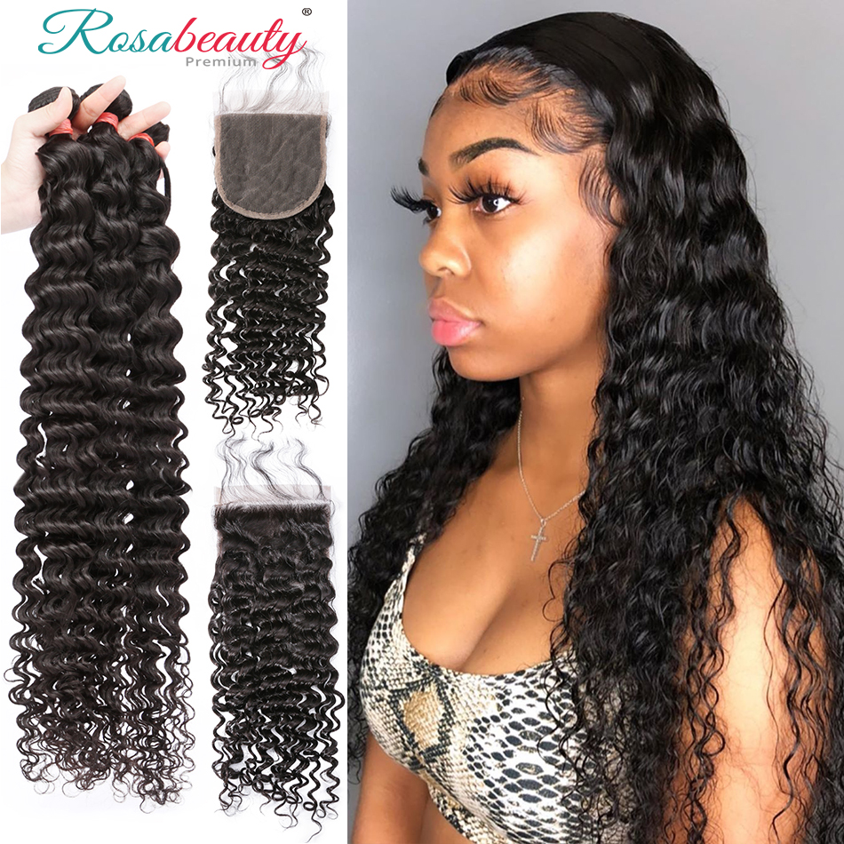Rosabeauty Deep Wave Peruvian Human Hair Bundles Remy Hair Extension 3 Bundles With 4x4 Frontal Closure 30in Curly Wave Bundles