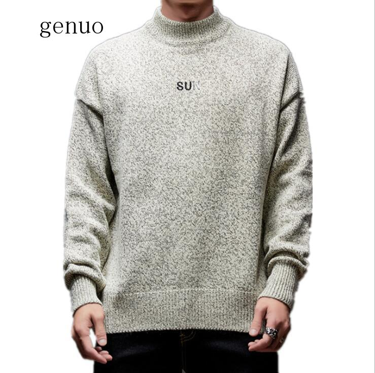 Autumn Winter Male Sweaters Letter Embroidery Man's Sweater O-Neck Darkgray Lightgray Beige M-3XL Long Sleeve Pullover