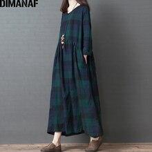 DIMANAF Plus Size Women Dress Long Sleeve 2019 Autumn Vintage Elegant Big Size Cotton Loose Female Vestidos Plaid Dress Clothes цена
