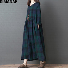 DIMANAF プラスサイズ女性のドレス長袖 2019 秋ヴィンテージエレガントなビッグサイズの綿緩い女性 Vestidos チェック柄ドレス服