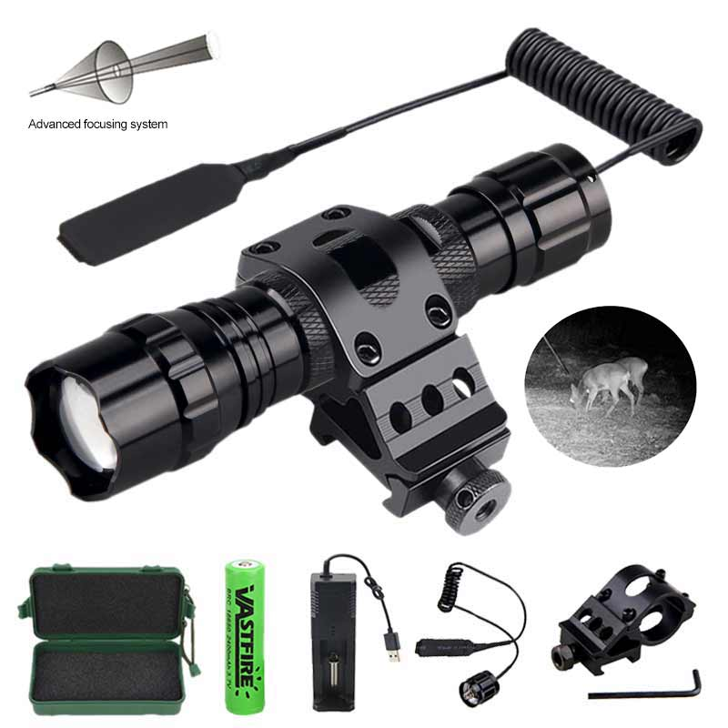 Vastfire 501B IR850nm Zoomable Focus Flashlight LED Infrared Radiation Night Vision Hunting Torch+Mount+Switch+18650+Charger+Box