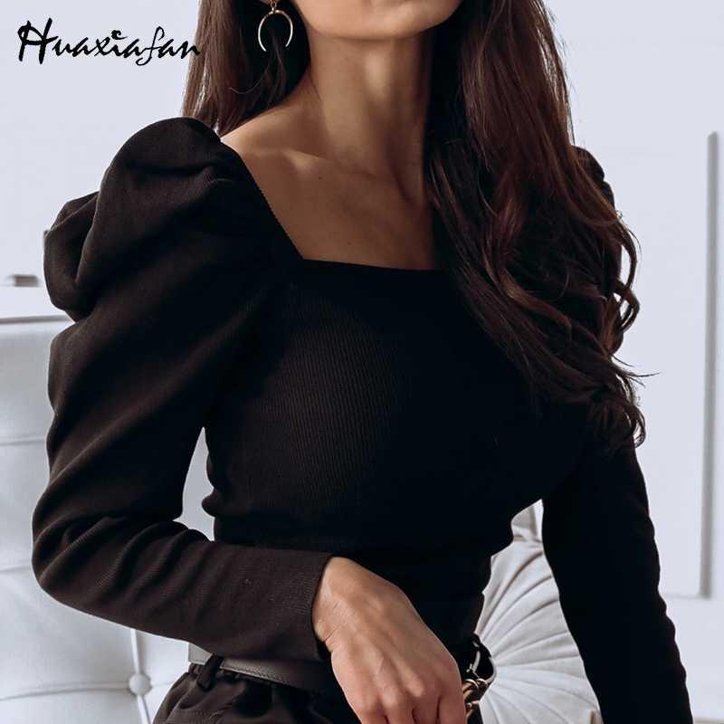 Huaxiafan 퍼프 긴 소매 스웨터 니트 풀오버 여성 단색 빈티지 스웨터 봄 가을 점퍼 여성 스웨터 2020 신규